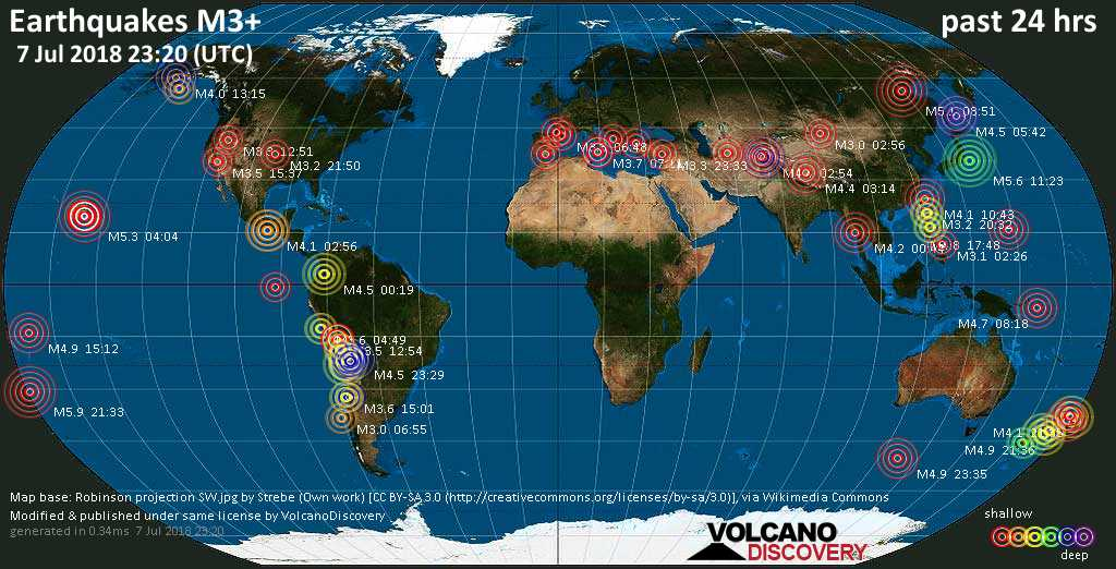 World map showing earthquakes above magnitude 3 during the past 24 hours on  7 Jul 2018