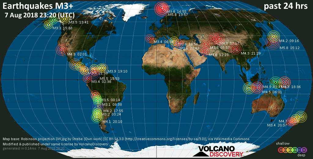 World map showing earthquakes above magnitude 3 during the past 24 hours on  7 Aug 2018