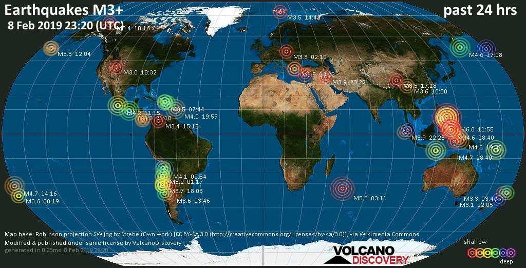 World map showing earthquakes above magnitude 3 during the past 24 hours on  8 Feb 2019