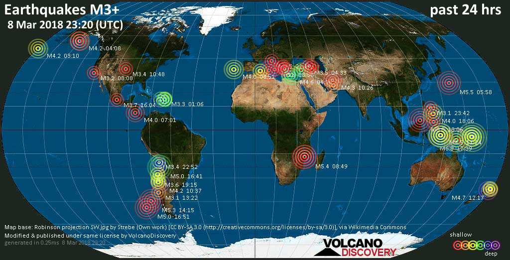 Earthquake report world wide for thursday 8 mar 2018 volcanodiscovery world map showing earthquakes above magnitude 3 during the past 24 hours on 8 mar 2018 gumiabroncs Image collections