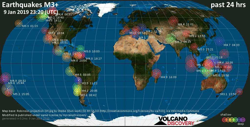 World map showing earthquakes above magnitude 3 during the past 24 hours on  9 Jan 2019