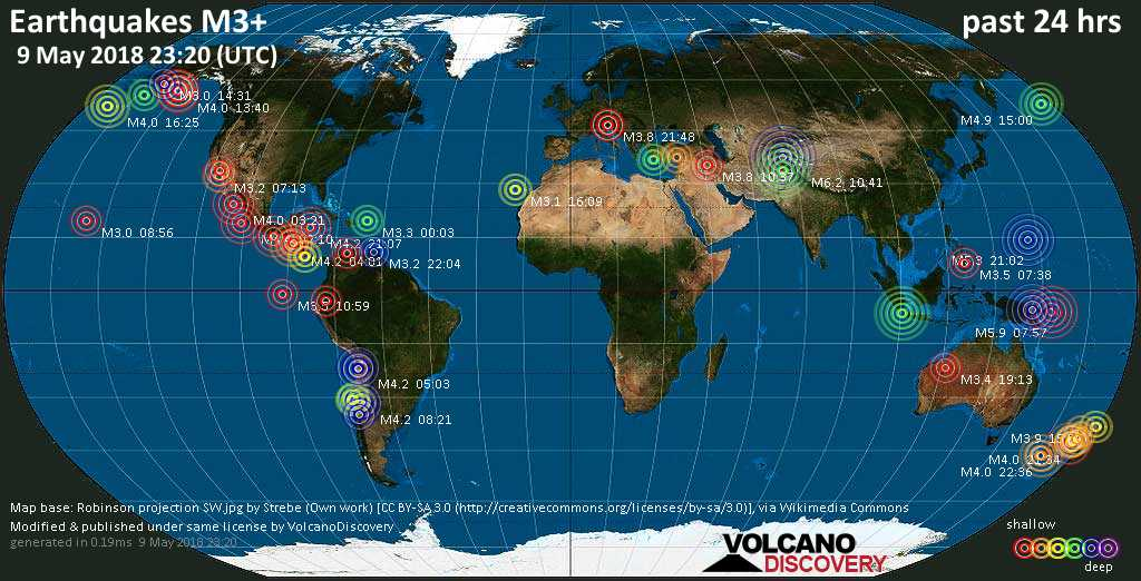 World map showing earthquakes above magnitude 3 during the past 24 hours on  9 May 2018
