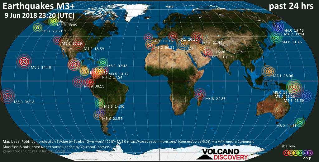 World map showing earthquakes above magnitude 3 during the past 24 hours on  9 Jun 2018