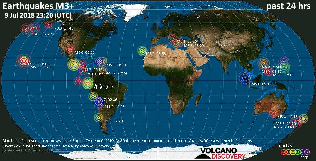World map showing earthquakes above magnitude 3 during the past 24 hours on  9 Jul 2018