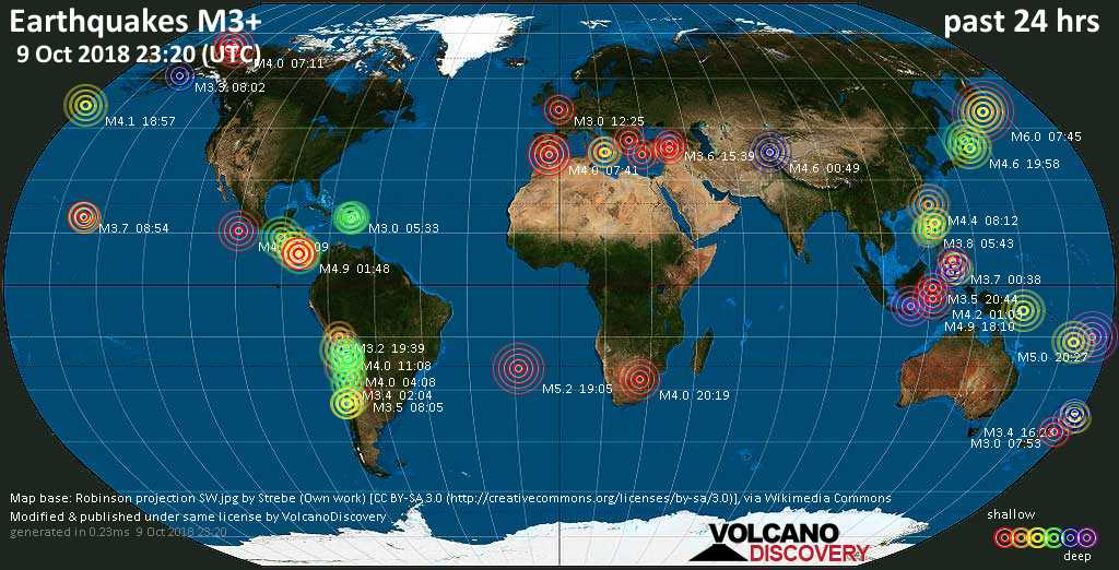 World map showing earthquakes above magnitude 3 during the past 24 hours on  9 Oct 2018