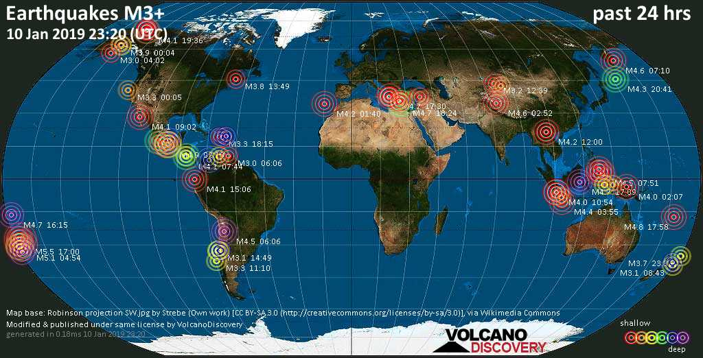 World map showing earthquakes above magnitude 3 during the past 24 hours on 10 Jan 2019