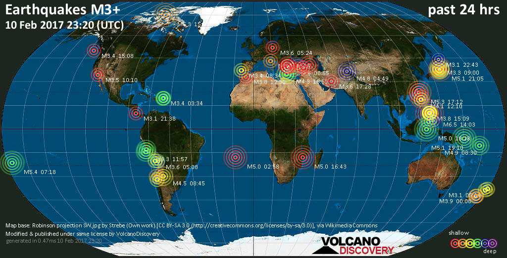 World map showing earthquakes above magnitude 3 during the past 24 hours on 10 Feb 2017