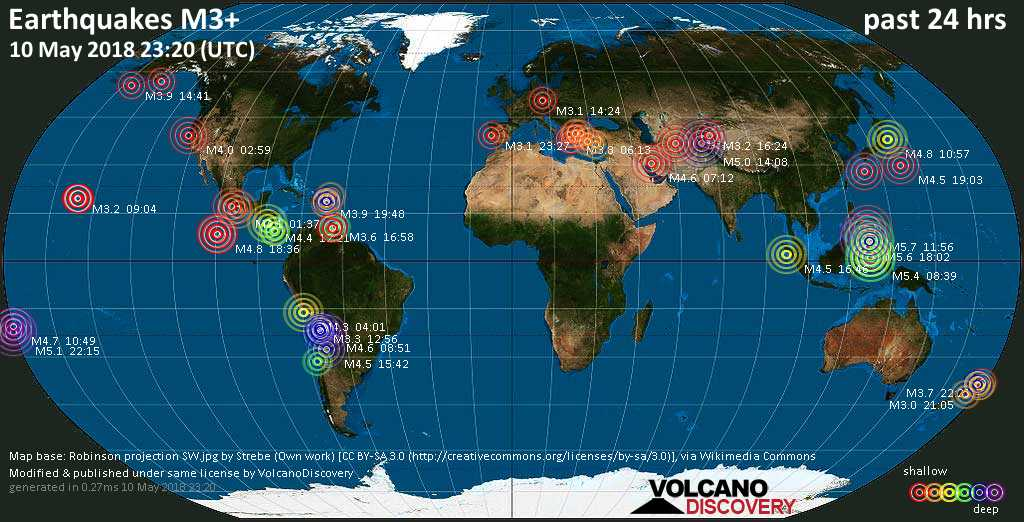 World map showing earthquakes above magnitude 3 during the past 24 hours on 10 May 2018