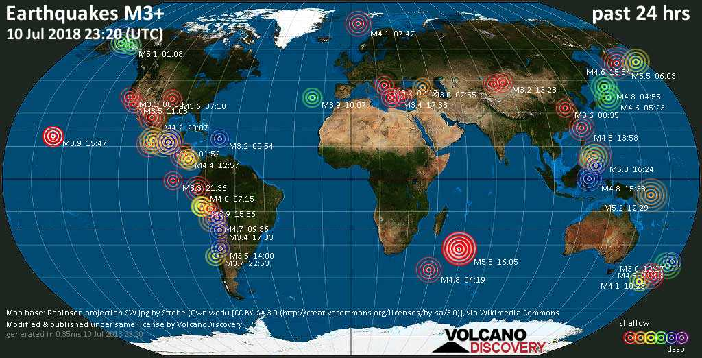 World map showing earthquakes above magnitude 3 during the past 24 hours on 10 Jul 2018