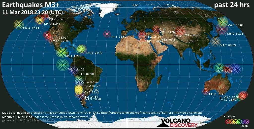 World map showing earthquakes above magnitude 3 during the past 24 hours on 11 Mar 2018