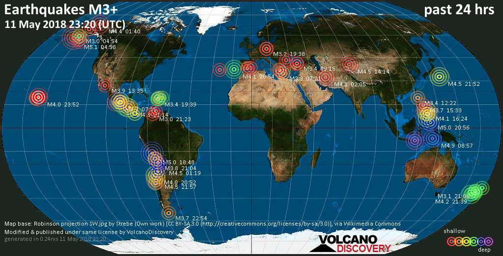 World map showing earthquakes above magnitude 3 during the past 24 hours on 11 May 2018