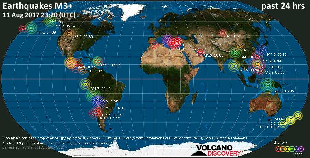 World map showing earthquakes above magnitude 3 during the past 24 hours on 11 Aug 2017
