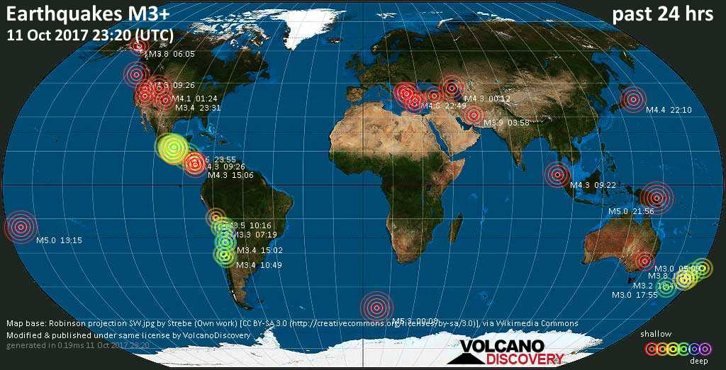 World map showing earthquakes above magnitude 3 during the past 24 hours on 11 Oct 2017