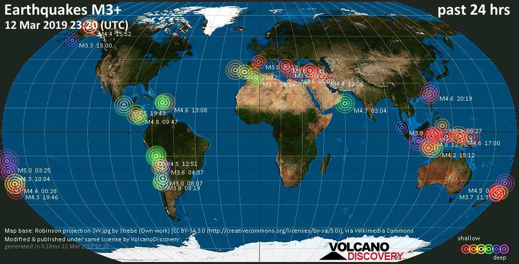 World map showing earthquakes above magnitude 3 during the past 24 hours on 12 Mar 2019