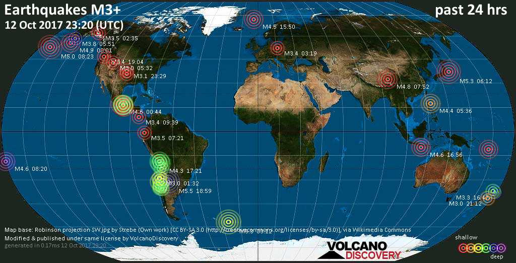 World map showing earthquakes above magnitude 3 during the past 24 hours on 12 Oct 2017