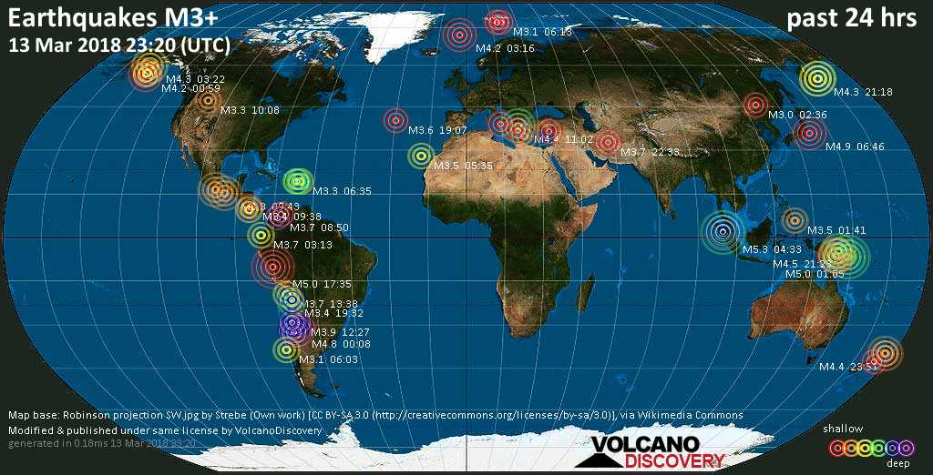 World map showing earthquakes above magnitude 3 during the past 24 hours on 13 Mar 2018