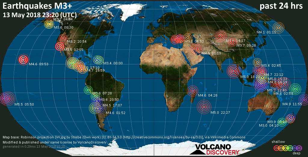 World map showing earthquakes above magnitude 3 during the past 24 hours on 13 May 2018