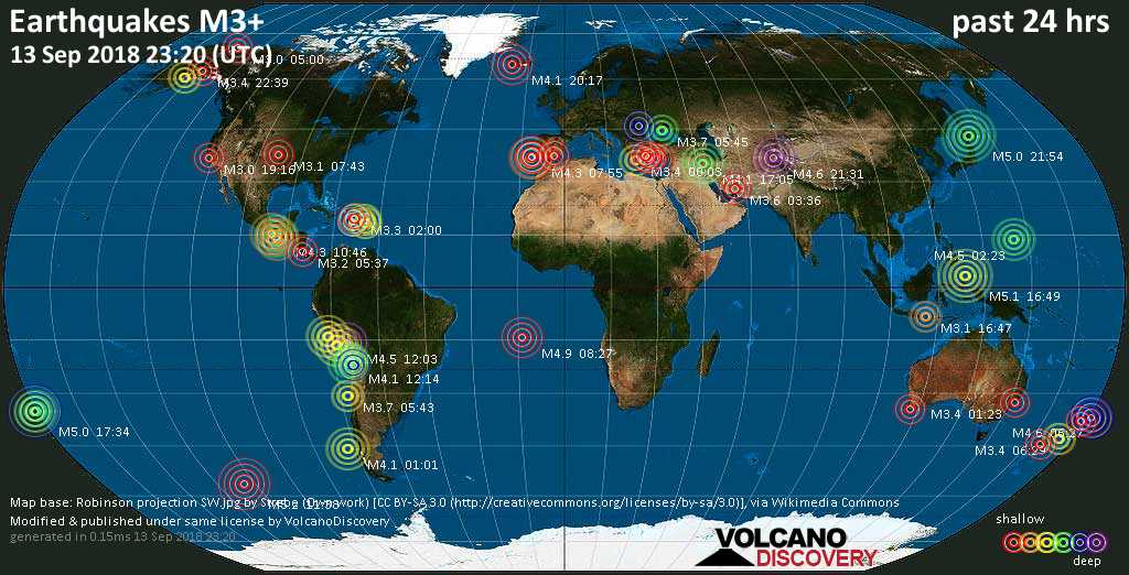 World map showing earthquakes above magnitude 3 during the past 24 hours on 13 Sep 2018