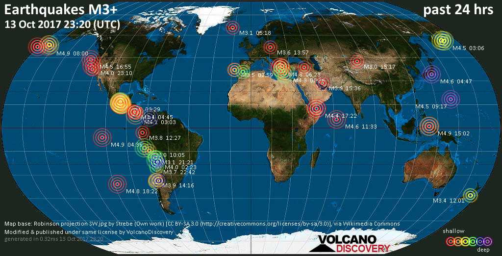 World map showing earthquakes above magnitude 3 during the past 24 hours on 13 Oct 2017