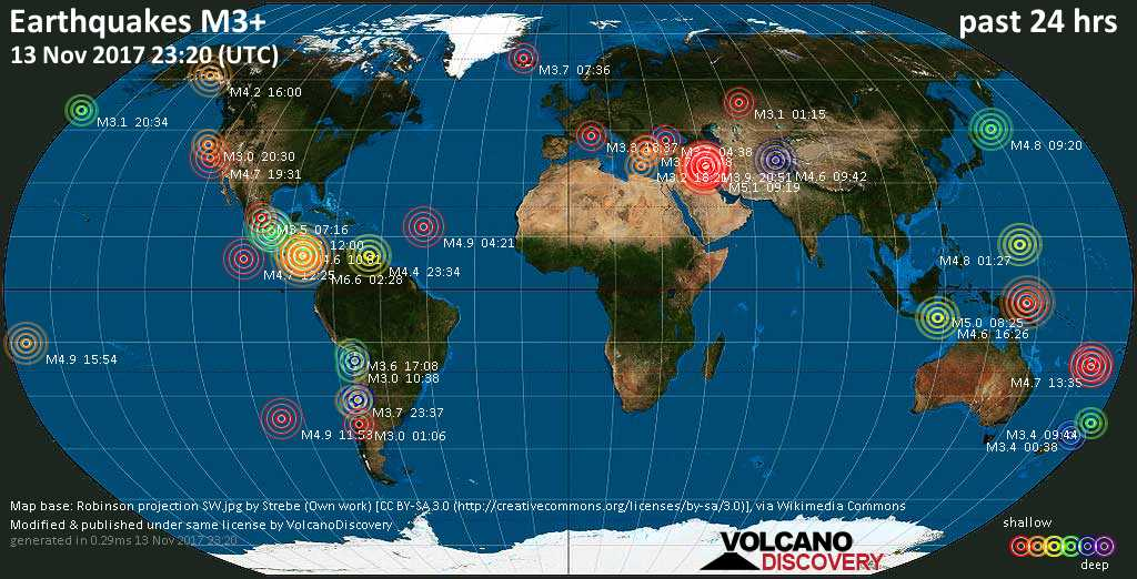 Earthquake report world wide for monday 13 nov 2017 world map showing earthquakes above magnitude 3 during the past 24 hours on 13 nov 2017 gumiabroncs Gallery