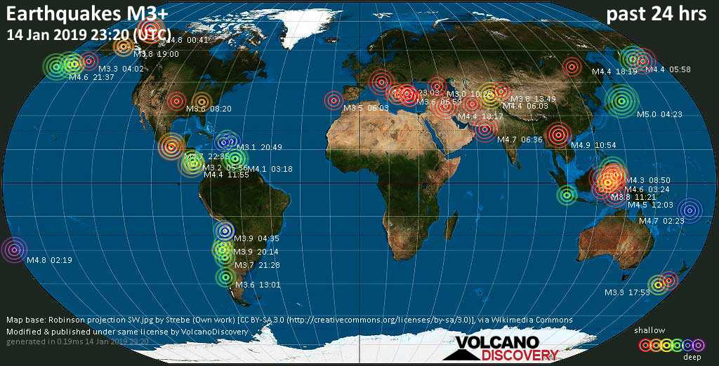World map showing earthquakes above magnitude 3 during the past 24 hours on 14 Jan 2019