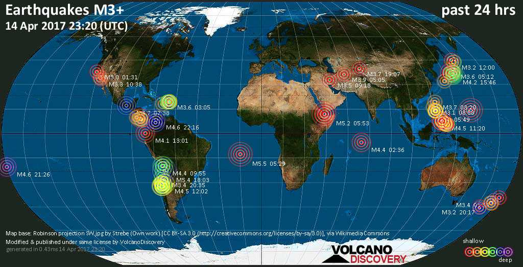 World map showing earthquakes above magnitude 3 during the past 24 hours on 14 Apr 2017