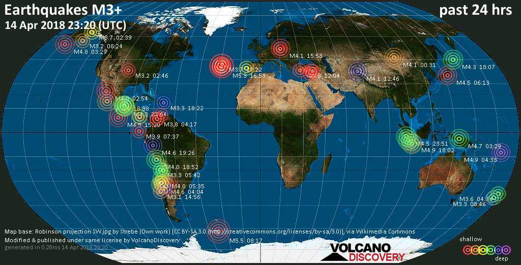 World map showing earthquakes above magnitude 3 during the past 24 hours on 14 Apr 2018