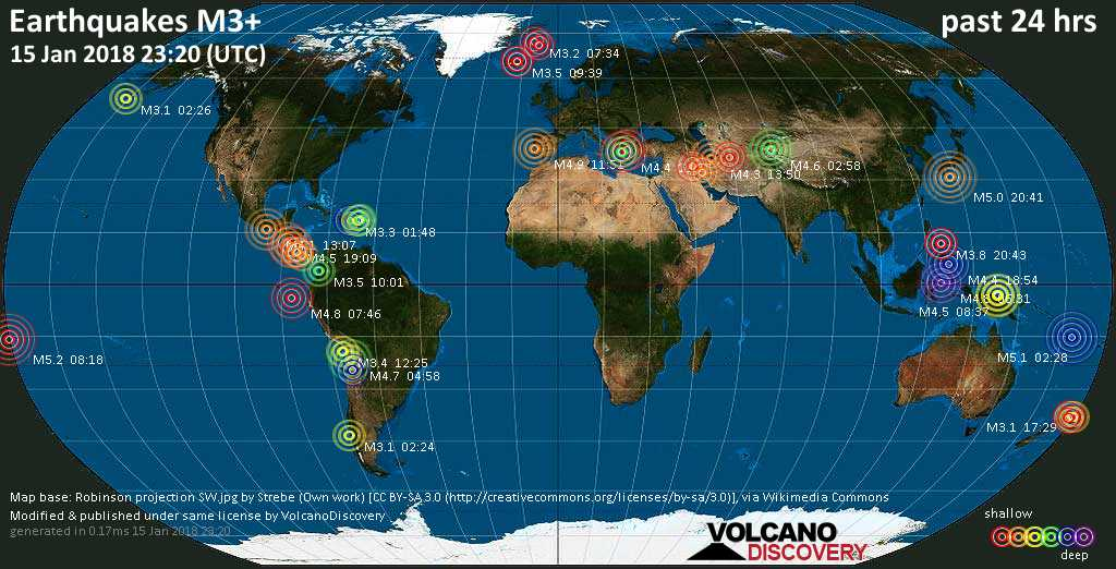 Earthquake report world wide for monday jan