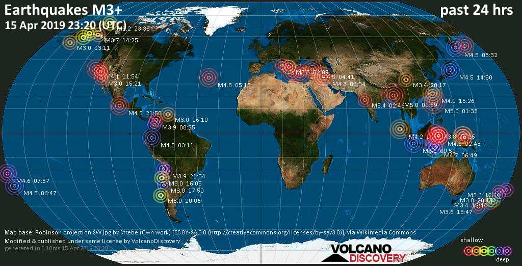 World map showing earthquakes above magnitude 3 during the past 24 hours on 15 Apr 2019