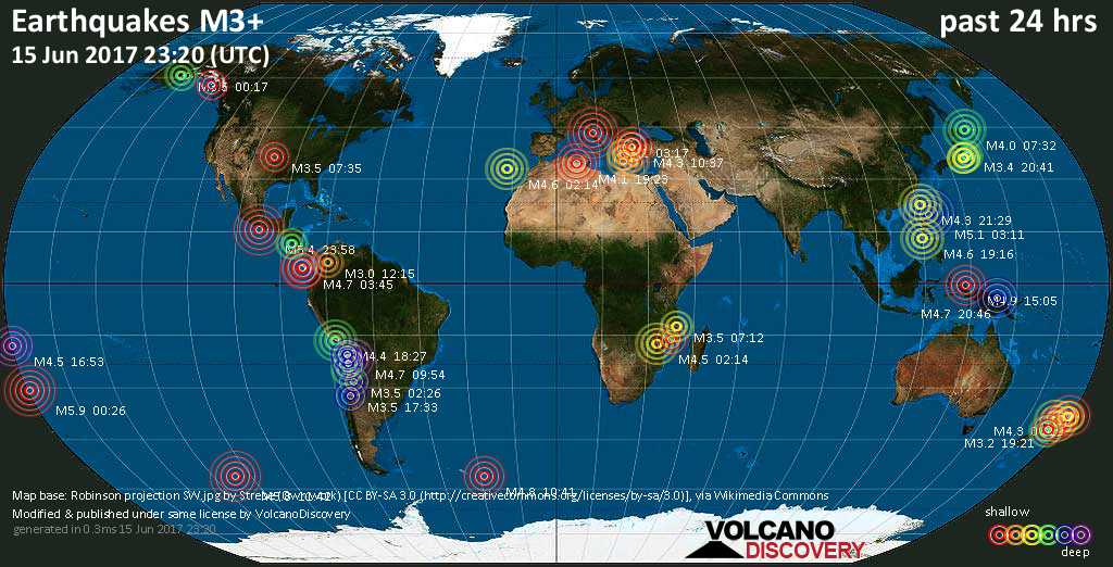 World map showing earthquakes above magnitude 3 during the past 24 hours on 15 Jun 2017