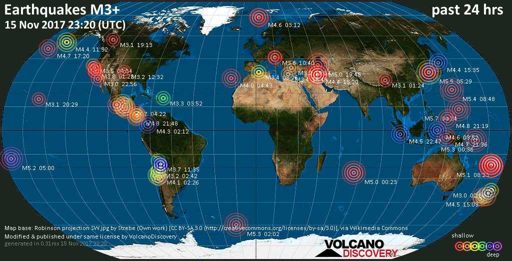World map showing earthquakes above magnitude 3 during the past 24 hours on 15 Nov 2017
