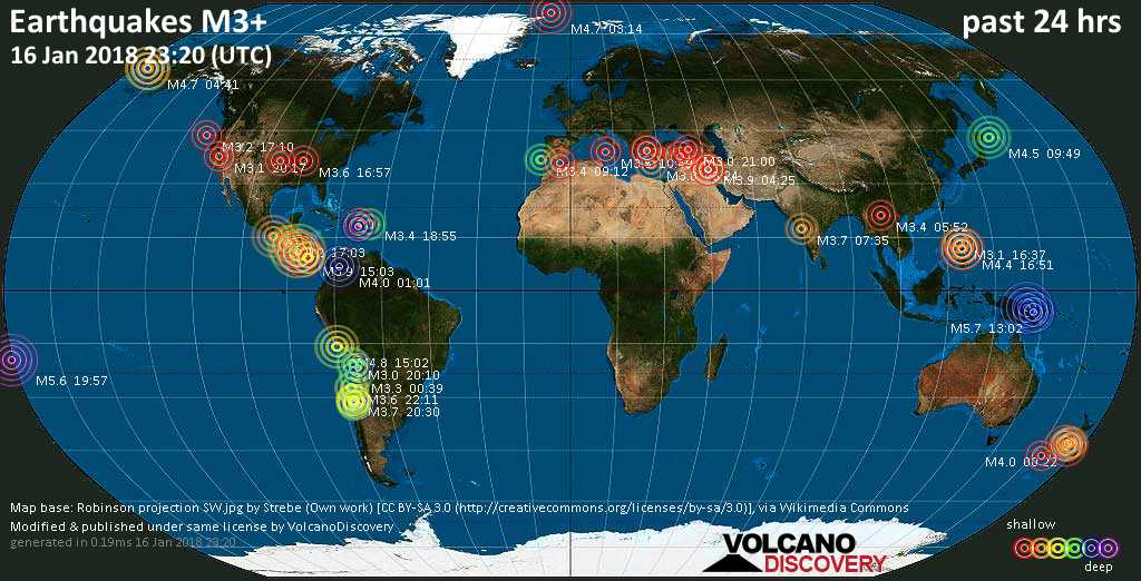 Earthquake report world wide for tuesday 16 jan 2018 volcanodiscovery world map showing earthquakes above magnitude 3 during the past 24 hours on 16 jan 2018 gumiabroncs Choice Image