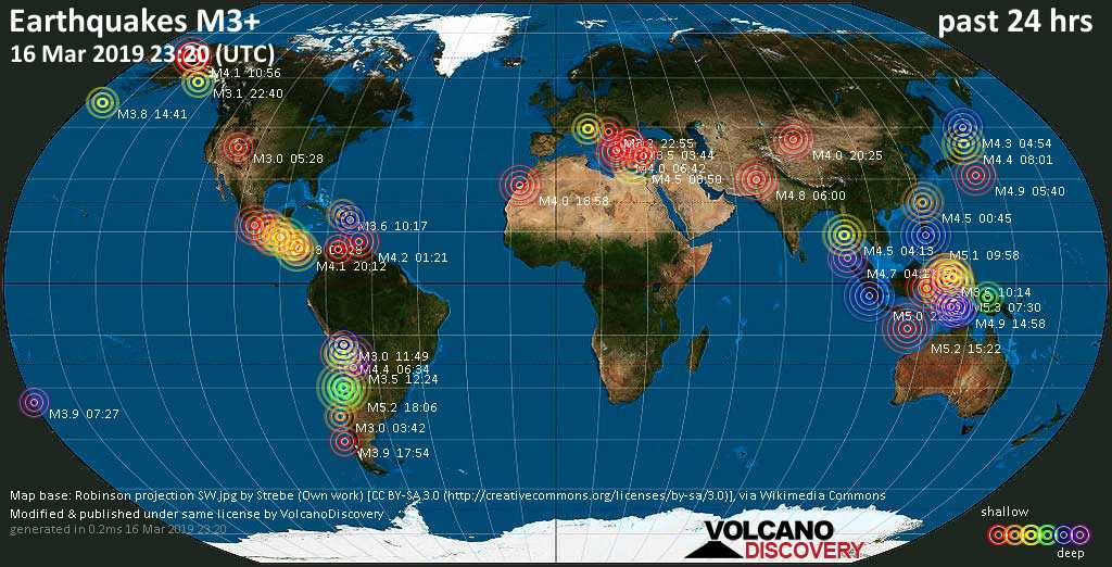 Earthquake Report World Wide For Saturday 16 Mar 2019