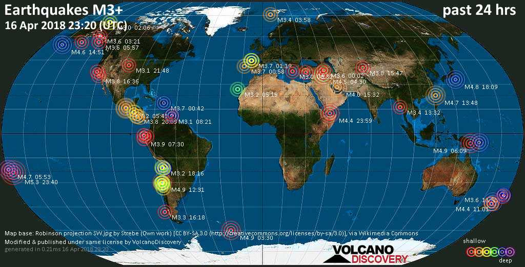 World map showing earthquakes above magnitude 3 during the past 24 hours on 16 Apr 2018