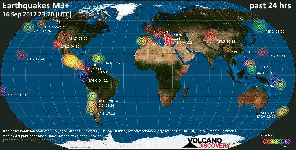 World map showing earthquakes above magnitude 3 during the past 24 hours on 16 Sep 2017