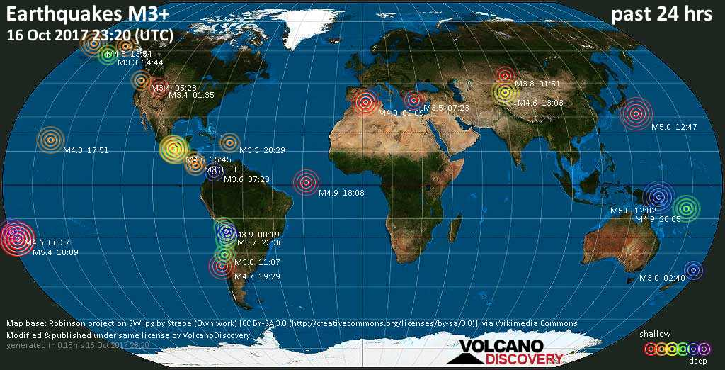 World map showing earthquakes above magnitude 3 during the past 24 hours on 16 Oct 2017