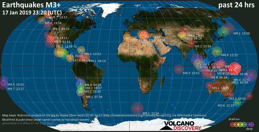 Earthquake report world-wide for Thursday, 17 Jan 2019 ...