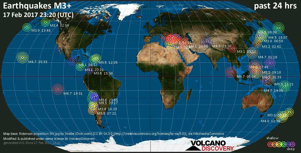 World map showing earthquakes above magnitude 3 during the past 24 hours on 17 Feb 2017