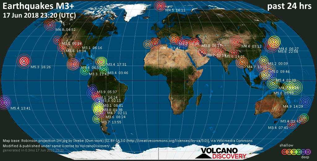 World map showing earthquakes above magnitude 3 during the past 24 hours on 17 Jun 2018