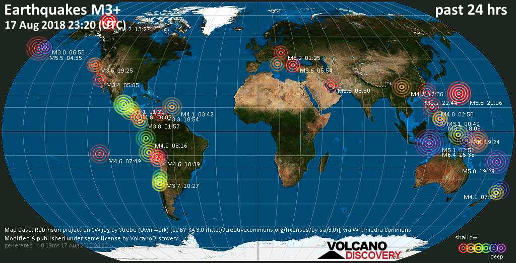 Earthquake report world wide for friday 17 aug 2018 volcanodiscovery world map showing earthquakes above magnitude 3 during the past 24 hours on 17 aug 2018 gumiabroncs Choice Image