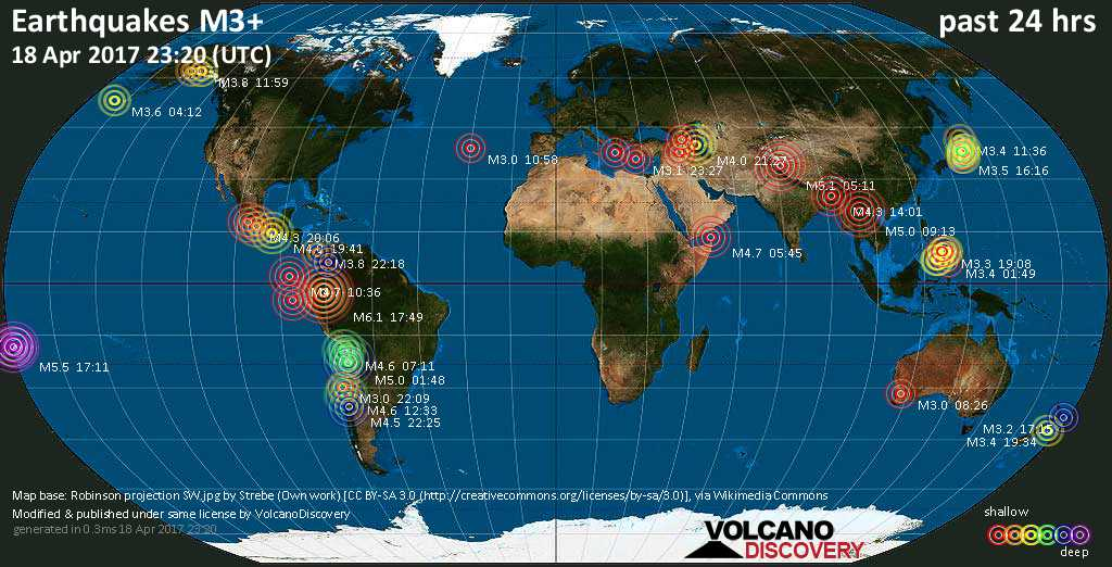 World map showing earthquakes above magnitude 3 during the past 24 hours on 18 Apr 2017
