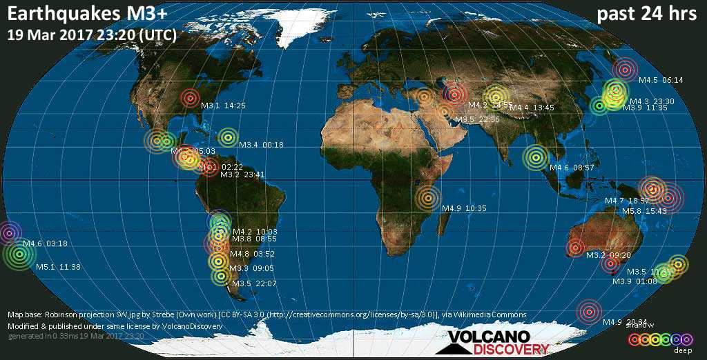 World map showing earthquakes above magnitude 3 during the past 24 hours on 19 Mar 2017