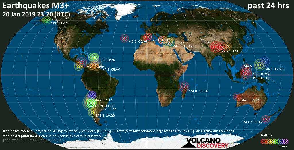World map showing earthquakes above magnitude 3 during the past 24 hours on 20 Jan 2019