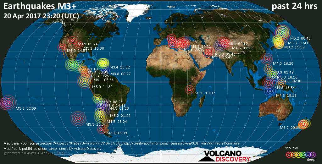 World map showing earthquakes above magnitude 3 during the past 24 hours on 20 Apr 2017