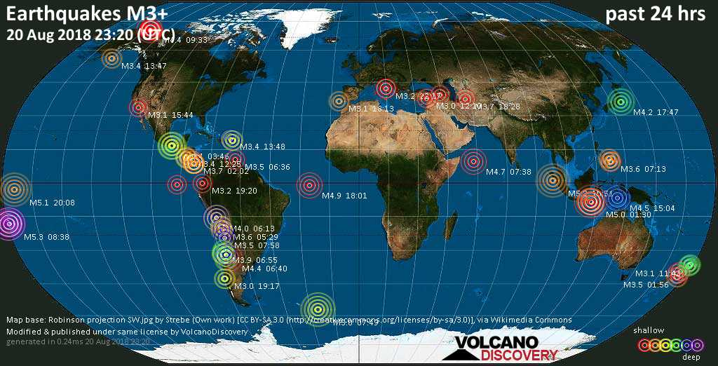 World map showing earthquakes above magnitude 3 during the past 24 hours on 20 Aug 2018