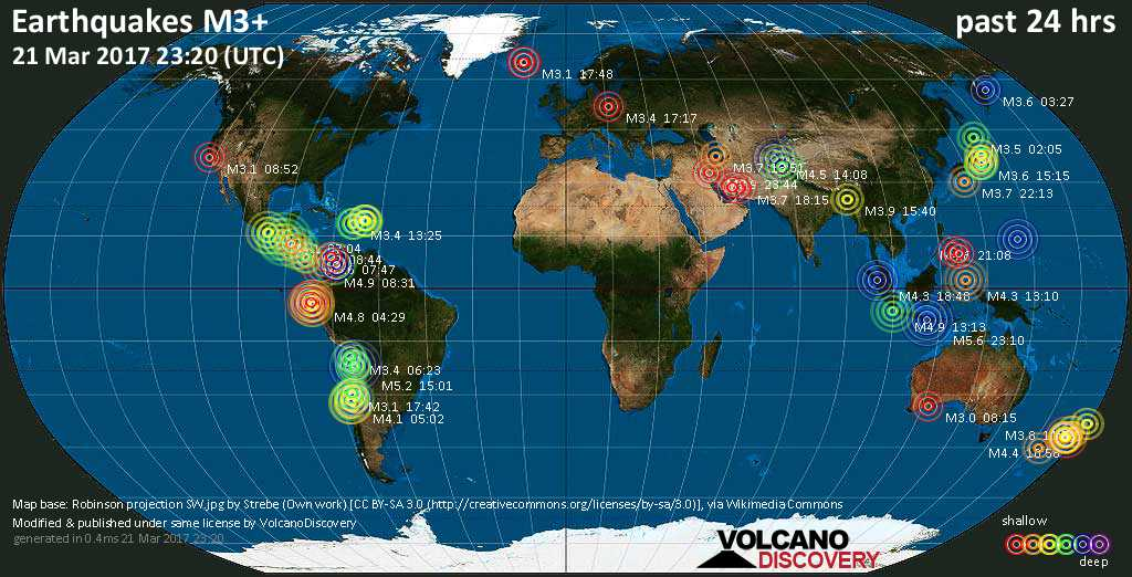 World map showing earthquakes above magnitude 3 during the past 24 hours on 21 Mar 2017