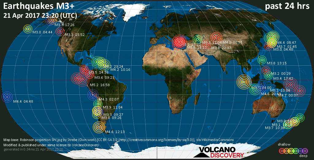 World map showing earthquakes above magnitude 3 during the past 24 hours on 21 Apr 2017