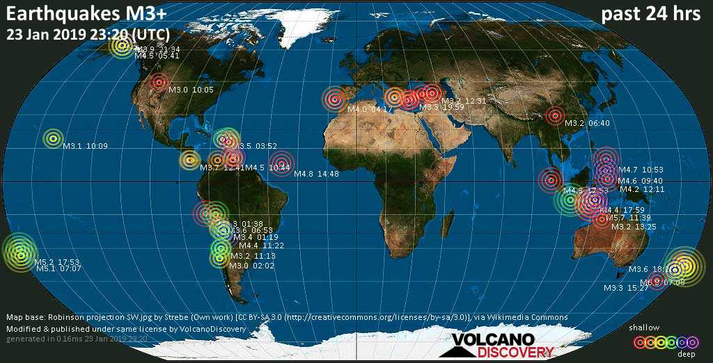World map showing earthquakes above magnitude 3 during the past 24 hours on 23 Jan 2019