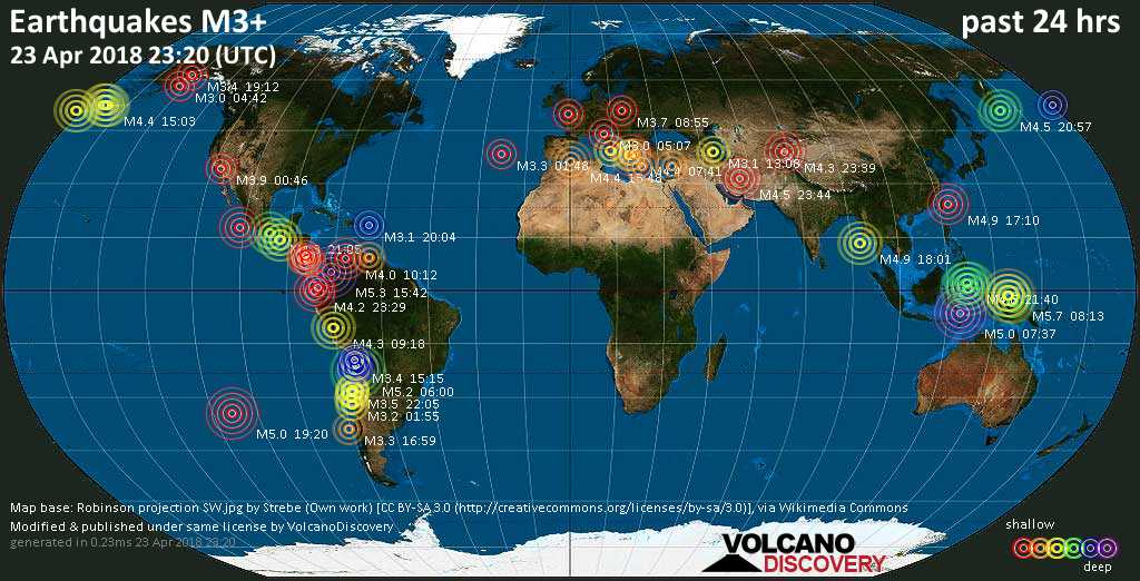 world map showing earthquakes above magnitude 3 during the past 24 hours on 23 apr 2018