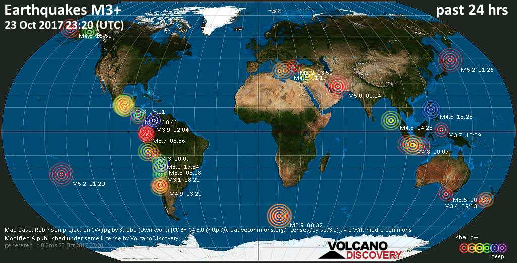 World map showing earthquakes above magnitude 3 during the past 24 hours on 23 Oct 2017